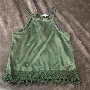 Charlotte Russe lace bottom olive green top